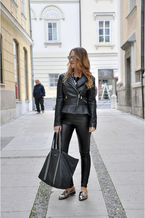 black Zara jacket - gold Zara shoes - black c&a tights - black Kocca bag