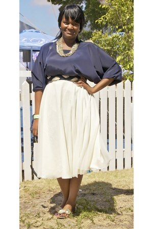 cream vintage skirt - navy DIY blouse