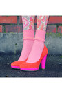 Hot-pink-geometric-vintage-shirt-coral-floral-vintage-tights