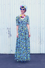 Blue-vintage-dress-yellow-cat-broohes-needlebot-crafts-hair-accessory