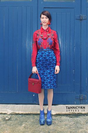ruby red vintage Spacesuit shirt - brick red lp record Purple Rain Vintage bag