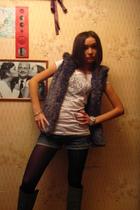 gray Bershka vest - blue Terranova shorts - gray Zara boots - white H&M t-shirt