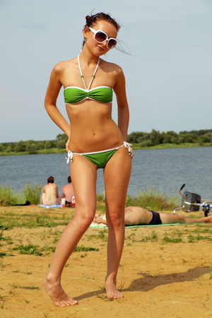 green etam swimwear - white  sunglasses - green Ledy Collection earrings