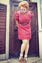 ruby red vintage dress - brown brown ruffle asos shoes - brown Primark belt