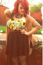 black Topshop skirt - sunflowers Primark romper - beige Topshop cardigan