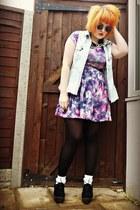 brogue creepers new look shoes - skater dress new look dress - denim DIY jacket