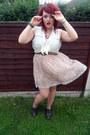 Primark-shoes-light-pink-topshop-dress-brown-primark-belt-white-h-m-blouse