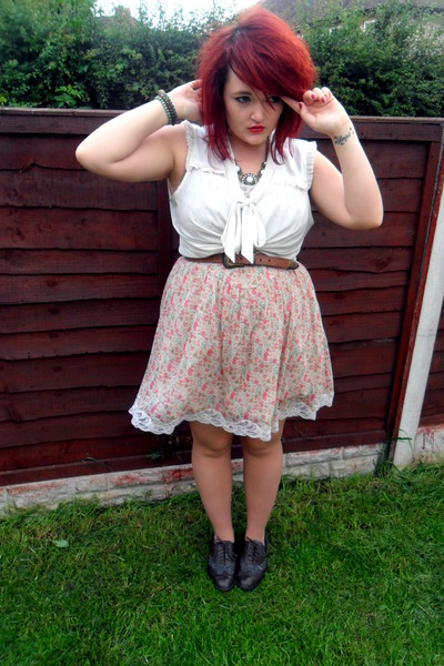 Primark shoes - light pink Topshop dress - brown Primark belt - white H&amp;M blouse