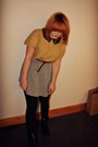 Yellow-asos-top-heather-gray-grey-fleck-new-look-skirt-tawny-new-look-belt