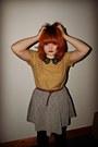 Yellow-asos-top-heather-gray-grey-fleck-new-look-skirt-tawny-new-look-belt