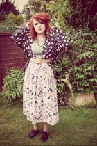 floral vintage shirt - Forever 21 shoes - grey midi Topshop dress
