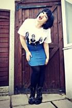 white TK maxx t-shirt - black floral velvet Dr Martens boots