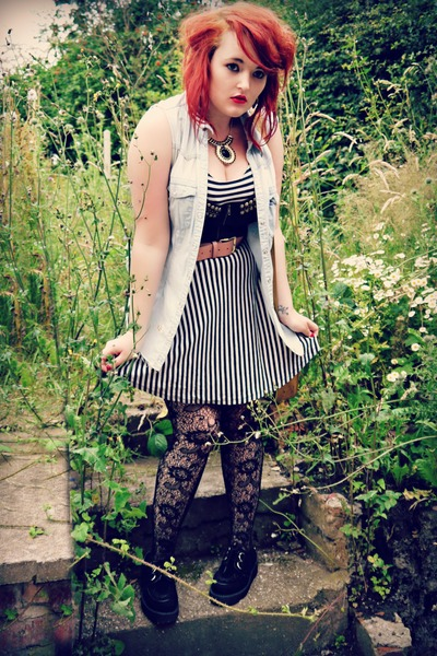 striped Topshop dress - creepers Newlook shoes - denim DIY shirt