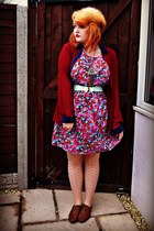 hot pink floral print new look dress - brown brogues gift shoes