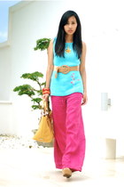 pink wide legged Esprit pants - yellow Fino Leather wear bag