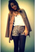 Stradivarius coat - Stradivarius shorts - Zara blouse
