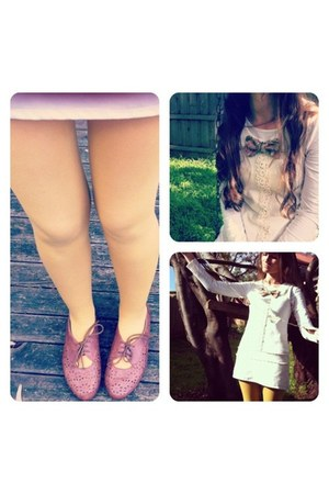 brown Rivers flats - ivory vintage white wish dress - mustard eqiup tights