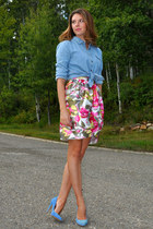 white Self Made skirt - sky blue  blouse - sky blue Aldo pumps