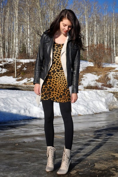 bronze leopard H&M dress - black leather jacket