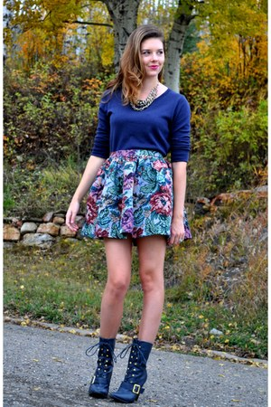 navy  boots - navy Gap sweater - light blue Tasha Delrae Boutique skirt