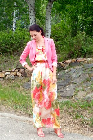 peach 3 way maxi DIY dress - bubble gum H&M blazer - coral Sole Society wedges
