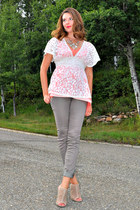 salmon winners top - heather gray H&M pants - ivory lace Forever 21 blouse