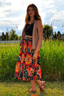 Black-cropped-self-made-top-carrot-orange-self-made-skirt-tan-gap-vest
