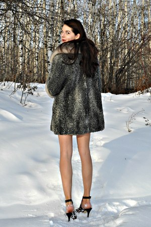 heather gray fur vintage coat