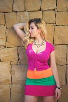 hot pink Sex Kitten Couture skirt - hot pink button up top Guess top