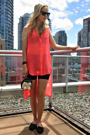 vintage Sporran bag - neon H&M dress