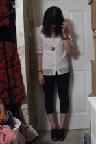 forever 21 t-shirt - moms blouse - Rue 21 necklace - pants - payless shoes