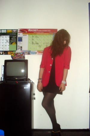 black H&M dress - black DIY aldo shoes - pink vintage blazer - black H&M tights