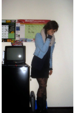 blue H&M jacket - black Frye boots - black H&M dress - blue H&M sweater
