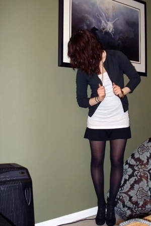 black H&M dress - black Payless shoes - green Zara jacket - black tights