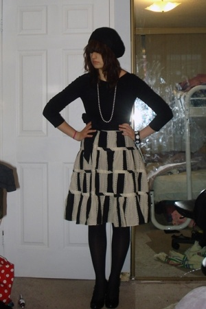 Macys skirt - top - necklace - Rue 21 hat - tights - forever 21 bracelet