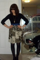 vintage belt - vintage shorts - top - tights - Rue 21 necklace