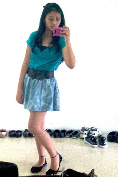 blue Body and Soul top - blue Motto skirt - black handmade belt - black yellow l