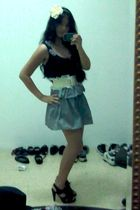 black Motto top - white Topshop skirt - white Forever 21 belt - white Forever 21