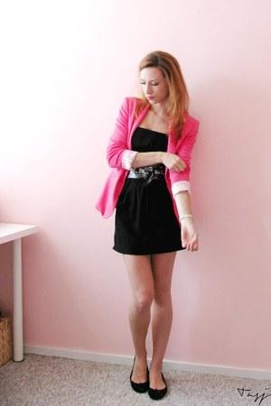 Zara blazer - Yesstyle dress - Accessorize scarf - Zara flats