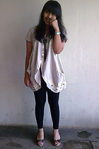 beige unknown shirt - black unbranded leggings - blue next - brown costum made -