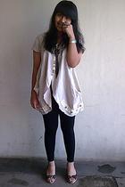 beige unknown shirt - black unbranded leggings - blue next - brown costum made -