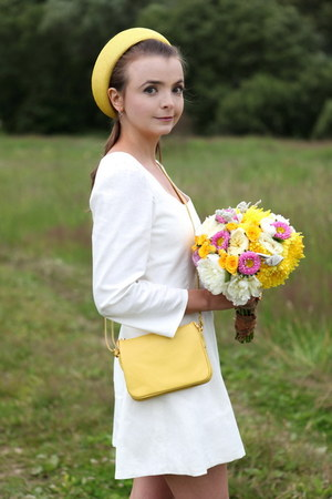 light yellow Olmi hat - white handmade dress - light yellow M&T bag