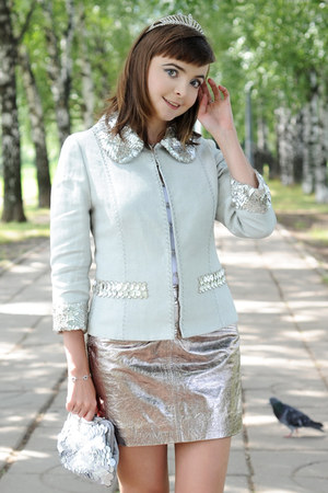 silver Glance bag - light blue Andrew Gn jacket - silver asos skirt