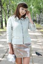 silver Glance bag - light blue Andrew Gn jacket - silver asos skirt