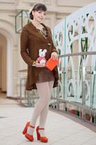 lime green Glance blouse - carrot orange asos bag - burnt orange Glance cardigan