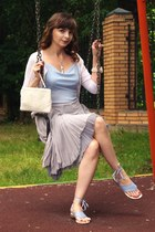 silver Topshop skirt - white Gant cardigan - light blue Ermanno Scervino sandals