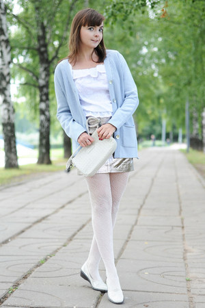 silver asos skirt - light blue Glenfield cardigan - white Glance top