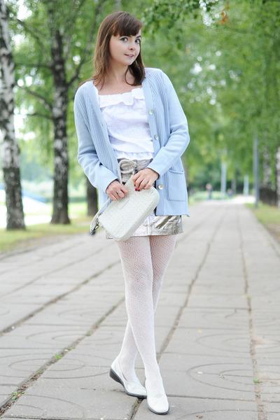 silver asos skirt - light blue Glenfield cardigan - white Glance top