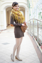 mustard handmade scarf - beige Majora shoes - brown handmade sweater
