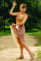 neutral Majora shoes - gold balenciaga top - ruby red Etro skirt